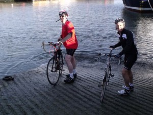Dipping of the tyres in the J'O'G water